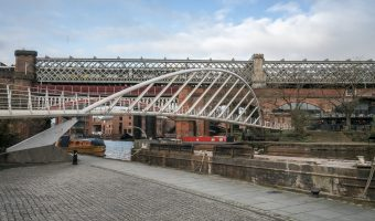 Merchants' Bridge in Castlefield. Located at the Castlefield Basin, where the Rochdale Canal meets the Bridgewater Canal.