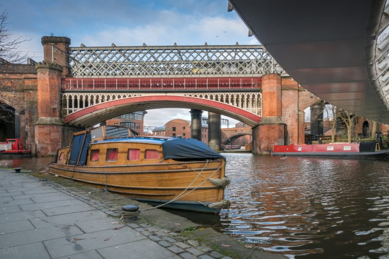 Canal boat at the Castlefield Basin in Manchester.