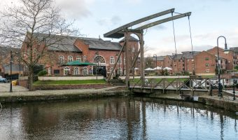 Photograph of the Wharf pub and Bridgewater Canal, Castlefield, Manchester.