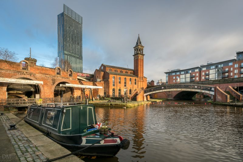 Photo of the Bridgewater Canal and the former Castlefield Congregational Chapel in Castlefield, Manchester.