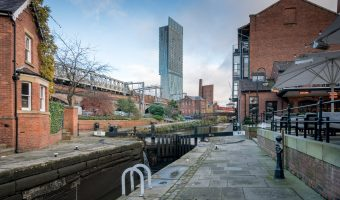 Photograph of Duke's Lock (aka Lock 92) on the Rochdale Canal in Castlefield, Manchester. Dukes 92,