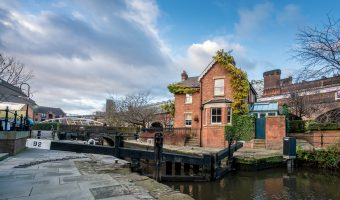 Photo of Lock 92 (Duke's Lock) on the Rochdale Canal in Manchester. It is the final lock on the canal before it joins the Bridgewater Canal.