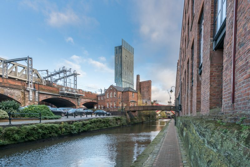 View of the Rochdale Canal in Castlefield, Manchester city centre. The Beetham Tower can be seen in the distance.