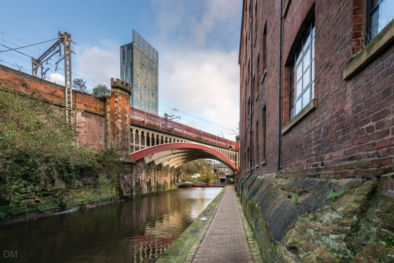 Photo of bridge over the Rochdale Canal and the Beetham Tower in Manchester.