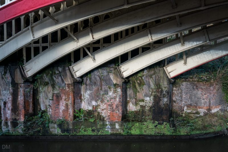 Railway Bridge over Rochdale Canal in Castlefield, Manchester. Photo taken from Rochdale Canal towpath.