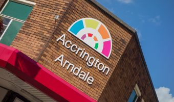 Photograph of the sign at Accrington Arndale shopping centre in Accrington, Lancashire.