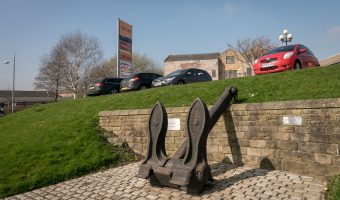 An anchor, belonging to HMS Active, on Active Way in Burnley (outside Anchor Retail Park).