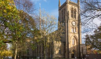 Photograph of Blackburn Cathedral in Blackburn, Lancashire. The Anglican cathedral is officially known as the Cathedral Church of Blackburn Saint Mary the Virgin with St Paul.