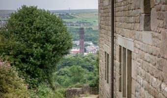 View of India Mill in Darwen, Lancashire. Taken from Sniddle Hill Farm on a walk to Darwen Tower.