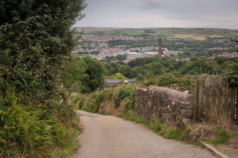 Photograph showing Darwen and India Mill. Taken from Punstock Lane on walk to Darwen Tower.
