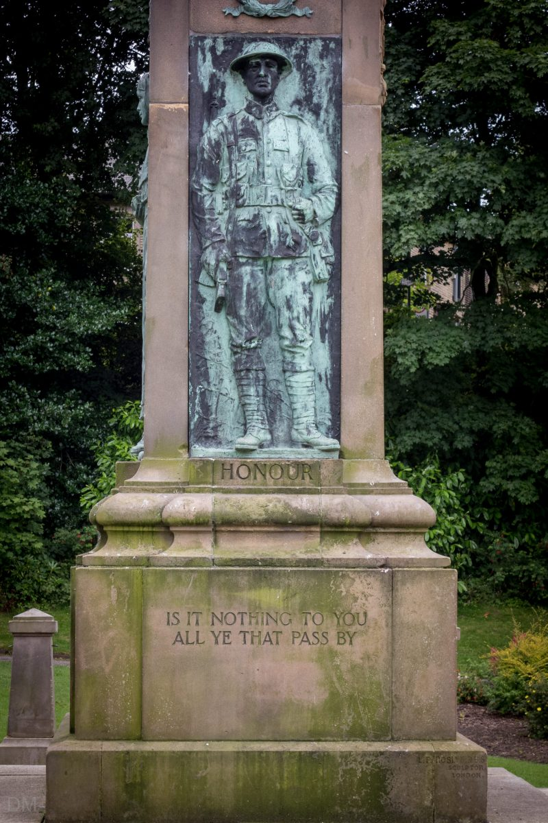 Photograph of the Darwen War Memorial in Bold Venture Park, Darwen, Lancashire.