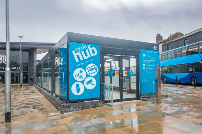 Cycle Hub at Bolton Bus Station (Bolton Interchange) offering secure storage for bikes.