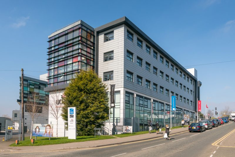 View of Burnley College on Princess Way in Burnley, Lancashire.