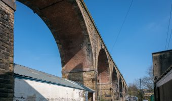 Photo of the Burnley Viaduct (aka Ashfield Road Viaduct). The bridge carries the East Lancashire Line over the valley of the River Calder.