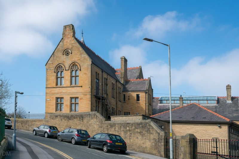 Photograph of the former Burnley Grammar School on School Lane in Burnley, Lancashire. This building opening in 1874 and was designed by William Waddington. It ceased to be a school in 1959.