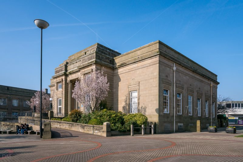 Photograph of Burnley Library on Grimshaw Street in Burnley town centre.