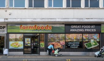 Photograph of the Farmfoods frozen food store on Croft Street in Burnley, Lancashire.