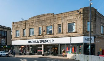 Photo of the Marks & Spencer (M&S) store on St James's Street in Burnley town centre.