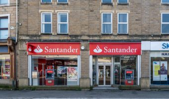 Photograph of the Santander bank on St James's Street in Burnley, Lancashire.