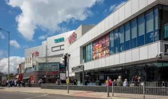 Photo of The Rock shopping centre in Bury, Greater Manchester. Pizza Express, Frankie & Benny's the Vue Cinema Bury can be seen.