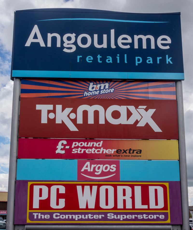 Sign at Angouleme Retail Park in Bury, Greater Manchester.