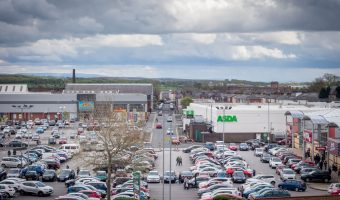 Photo of Angouleme Retail Park in Bury, Greater Manchester. Halls Mill Retail Park can also be seen.
