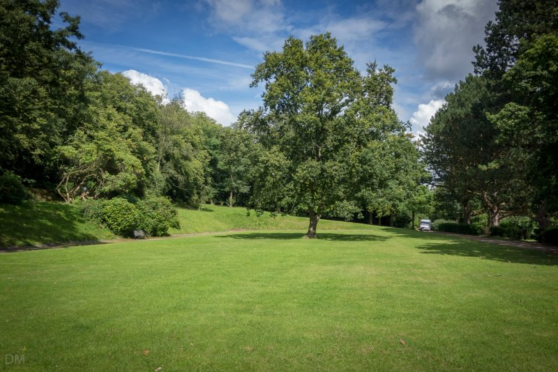 View of an open space at Corporation Park in Blackburn.