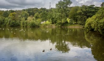 The main lake at Corporation Park in Blackburn, Lancashire.