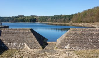 Photograph of the Entwistle Dam at Turton and Entwistle Reservoir in Lancashire.