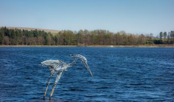 Photograph of The Wader, a sculpture by Marjan Wouda, at Turton and Entwistle Reservoir.