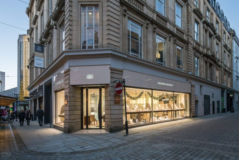 Photo of the Harrington & Hallworth jewellery store on King Street in Manchester city centre.