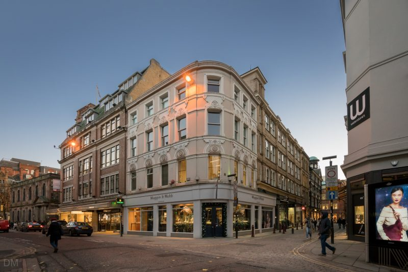 Photograph of the Mappin & Webb jewellery store on St Ann Street in Manchester city centre.