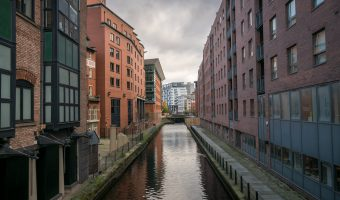 Photograph of the Rochdale Canal in Manchester city centre. Taken from Albion Street.