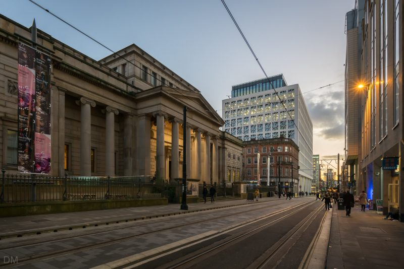 Photo of Manchester Art Gallery in Manchester city centre. Two St Peter's Square, offices on St Peter's Square, is in the background.