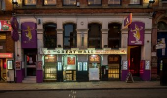 Photograph of the Great Wall and Try Thai restaurants on Faulkner Street in Chinatown, Manchester.