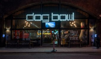 Photograph of the Dog Bowl, a bar and tenpin bowling centre on Whitworth Street West in Manchester.