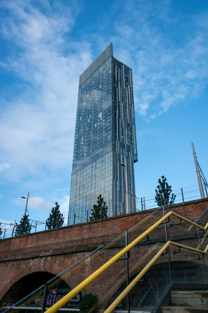 Photograph of the Beetham Tower from Deansgate Locks on Whitworth Street West.