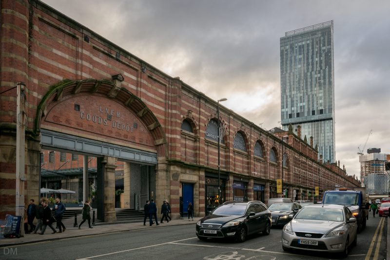 Photograph of the Great Northern on Deansgate, Manchester. Overlooked by the Beetham Tower.