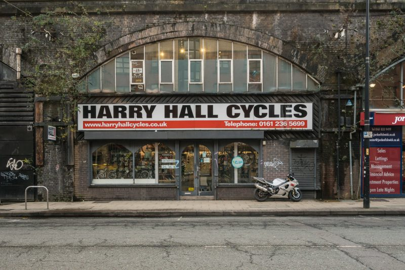 Photo of Harry Hall Cycles on Whitworth Street West in Manchester city centre.