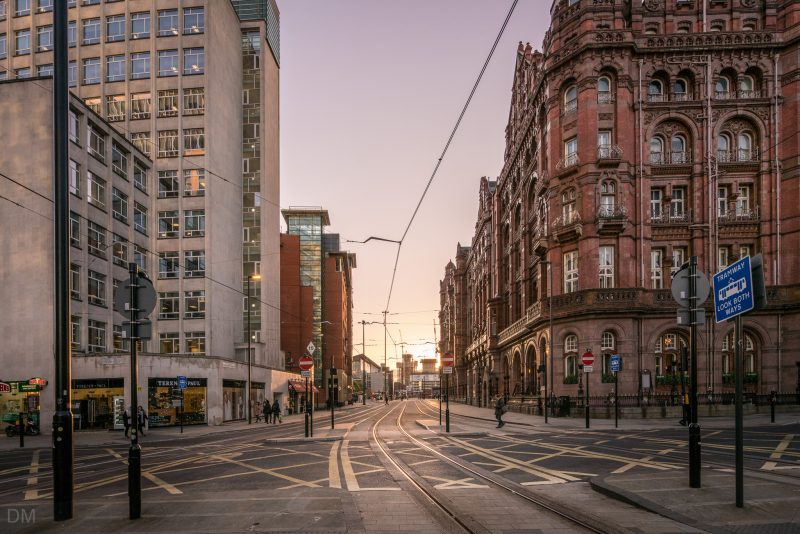 View of Lower Mosley Street from St Peter's Square, Manchester.