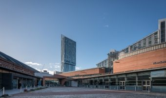 Photo of Exchange Hall at Manchester Central. The Beetham Tower and Great Northern Tower are in the background.