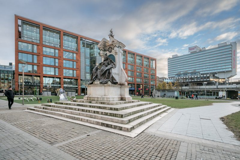 Photograph of Piccadilly Gardens in Manchester city centre.