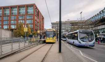 Photo of Piccadilly Gardens Tram Stop (Metrolink) and Piccadilly Gardens Bus Station in Manchester city centre.