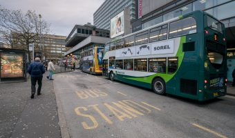 Photo of buses at Piccadilly Gardens Bus Station in Piccadilly Gardens, Manchester.