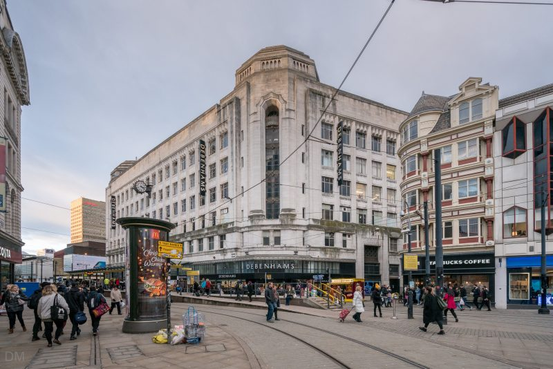 Photograph of the Debenhams department store on Market Street in Manchester city centre.