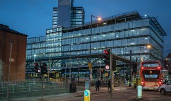 Photograph of the Shudehill Interchange and NCP Printworks car park in Manchester city centre.