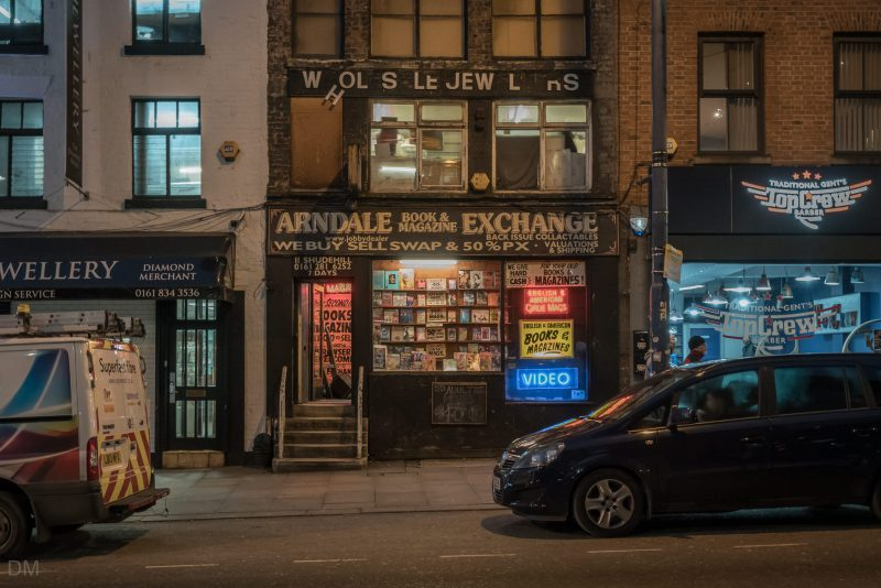Photograph of Arndale Book and Magazine Exchange, an adult bookshop on Shudehill in Manchester city centre.