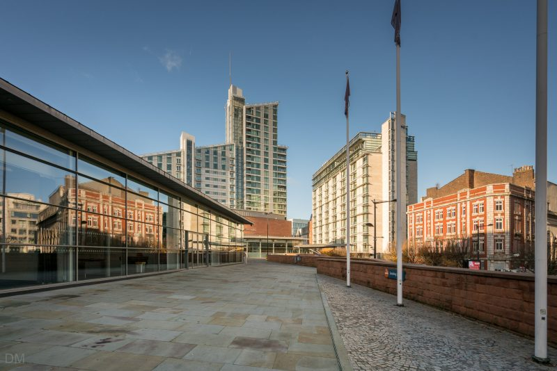View of Manchester Central, The Great Northern Tower, and the Radisson Blu Edwardian Manchester.