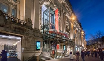 Photograph of the exterior of the Royal Exchange Theatre on St Ann's Square in Manchester.