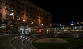Photo of the Great Northern and Great Northern Square at night.